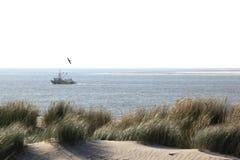 Pêche près de village de Hollum, île d'Ameland, Hollande Image libre de droits