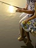 Pêche romantique de couples Photo libre de droits