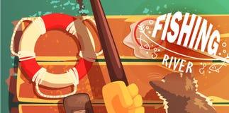 Pêche sur la rivière avec Cat View From Above Illustration Photos libres de droits