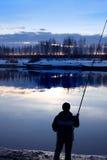 Pêche sur le canal de Volga Photo libre de droits