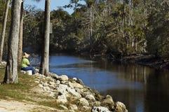 Pêche sur le fleuve photographie stock libre de droits