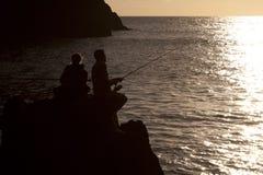 Pêche sur les roches Photo libre de droits