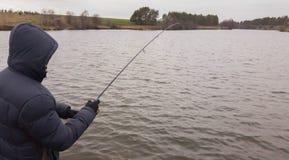 Pêche un hiver de rotation Photo stock