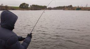 Pêche un hiver de rotation Photos stock