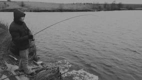 Pêche un hiver de rotation Photographie stock