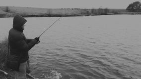 Pêche un hiver de rotation Photo libre de droits