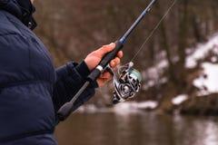 Pêche un hiver de rotation Images stock