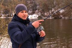 Pêche un hiver de rotation Image stock