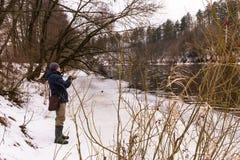 Pêche un hiver de rotation Photographie stock libre de droits