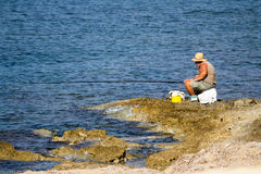 Pêcheur aîné Image libre de droits