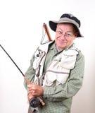Pêcheur aîné de sourire de mouche Photos libres de droits
