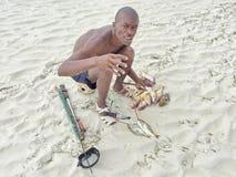 Pêcheur africain Photos stock