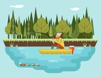 Pêcheur avec canne à pêche dans la forêt de bateau et Photographie stock