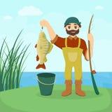 Pêcheur avec des poissons illustration de vecteur