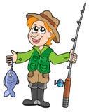 Pêcheur avec la tige illustration libre de droits