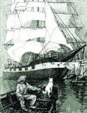 Pêcheur avec le chien dans le bateau et le grand bateau de navigation Photographie stock libre de droits