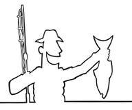 Pêcheur avec son loquet illustration stock