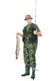 Pêcheur avec son loquet Images stock