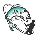 Pêcheur avec un loquet illustration de vecteur