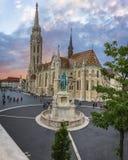 Pêcheur Bastion à Budapest au coucher du soleil Photos libres de droits