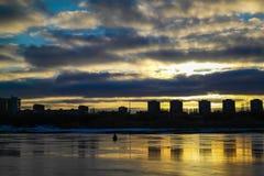 Pêcheur Bay de glace au coucher du soleil Photos libres de droits