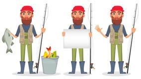 Pêcheur beau, personnage de dessin animé gai illustration stock