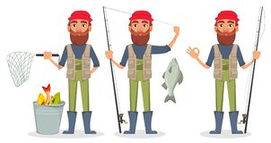 Pêcheur beau, personnage de dessin animé gai illustration libre de droits