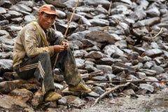 Pêcheur birman en Chin State photographie stock