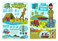 Pêcheur, canne à pêche et poissons, bateau et attirail illustration de vecteur