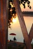 Pêcheur chez Danube, Bulgarie, Kozloduy Photo libre de droits