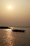 Pêcheur dans le Sundarbans, Inde photographie stock libre de droits