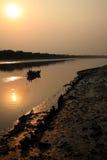 Pêcheur dans le Sundarbans, Inde image stock