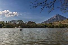 Pêcheur dans Ometepe Photo stock