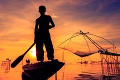 Pêcheur de silhouette Image libre de droits