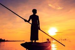 Pêcheur de silhouette Photos stock
