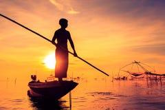 Pêcheur de silhouette Photo stock