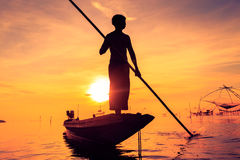 Pêcheur de silhouette Images stock