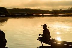 Pêcheur de silhouette Photos libres de droits