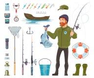 Pêcheur Elements Set illustration libre de droits