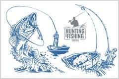 Pêcheur et poissons - illustration de vintage Photo stock