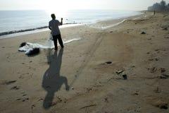 Pêcheur et réseau Photos stock