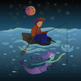 Pêcheur et sirène sous la lune Photo stock