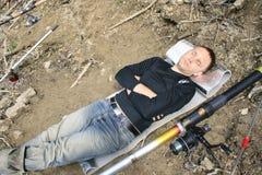 Pêcheur fatigué mort Photos libres de droits