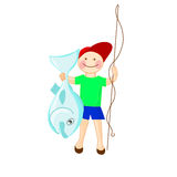 Pêcheur heureux avec la perche australienne de Perl de poissons Trop réussi Photo stock