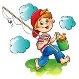 Pêcheur heureux de garçon illustration libre de droits