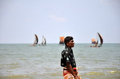 Pêcheur local dans Negombo, Sri Lanka Photo libre de droits