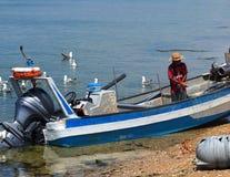 Pêcheur Off Ilha De Culatra Portugal photographie stock libre de droits