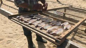 Pêcheur par le poisson-séchage traditionnel sur la plage de Nazare, Portugal, un village de pêcheurs sur la côte atlantique clips vidéos