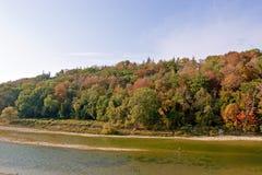 Pêcheur solitaire d'automne Photo stock