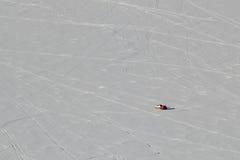 Pêcheur solitaire Lake Altoona Wisconsin de glace Image libre de droits